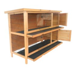 Pawhut 2 Story Stacked Wooden Outdoor Bunny Rabbit Hutch Grow Out Pen